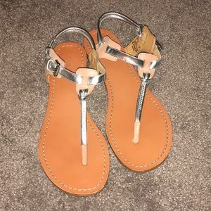 Coach Clarkson Silver Nude Thong Sandals Leather 8